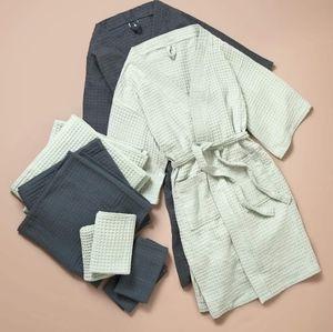 100% Cotton Bathen Waffle Knit Bathrobe - charcoal